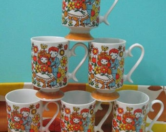 Set Of 6 Young Love Mugs, Vintage 1970's, Made In Japan, Kids Daisy Butterfly Cups
