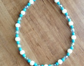 Turquoise, Glass Pearl and Crystal Ankle Bracelet