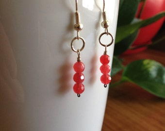 Cherry Quartz and Silver Earrings