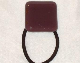 Glass Ponytail Holder, Purple Fused Glass, Handmade Hair Accessories