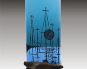 Harbor at Dusk - Fused Glass Panel