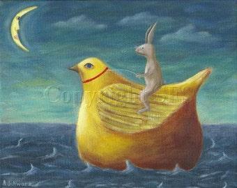 Whimsical PRINT, Rabbit Art, Children's Art, Cute Illustration, Storybook Art, Cute Print, Kids Decor, Happy Art, Bunny Rides Yellow Bird
