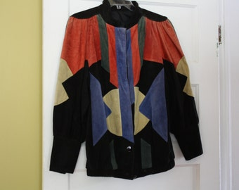 Colorful Patchwork Suede Coat.