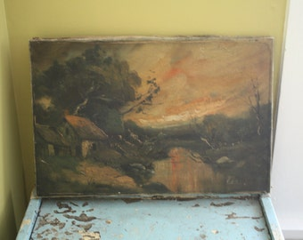 1950's Original Oil Painting. Dark Cabin in the Woods.  Stretched Canvas.