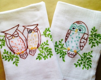 Owl Pals Hand Embroidered Dish Towels