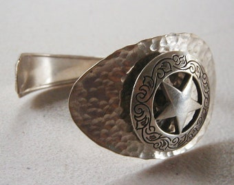 Silver spoon cuff bracelet concho star hammered finish recycled silverware jewelry - Handmade gs silverware ...