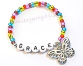 Colorful Butterfly Charm Name Bracelet for Girls Children's Personalized Jewelry Butterfly Party Favor Summer Accessory