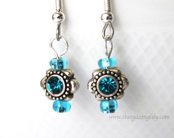 Art Deco style rhinestone and silver turquoise blue earrings. SIX COLORS AVAILABLE Hypoallergenic Surgical Steel hooks. Blue Pink Purple