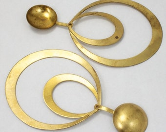 95mm Brass Double Hoop Stamping with 20mm Dome (2 Pcs) #2895