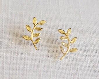 olive branch earrings . leaf stud earrings . gold twig earrings . silver branch jewelry . twig jewelry . small leaf earrings // 2OLIV