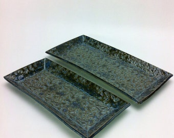 Nesting Ceramic Serving Tray Set in Midnight Sea, rectangle trays, serving dish, clay trinket dishes, food safe