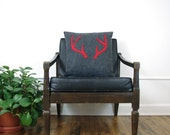 Charcoal Gray and Red Antlers Decorative Pillow Cover