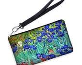 Van Gogh Irises Wristlet Wallet, Clutch Purse Bridesmaid Gift, Large Cell Phone Case fits iPhone 6 / Plus, blue orange RTS