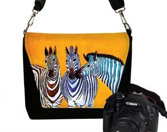 Clara Nilles DSLR Camera Bag Purse Camera Bag Dslr Padded Camera Bag Deluxe Zebras orange zebra stripes colorful RTS