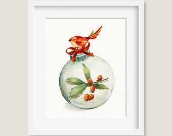 Watercolor Painting - Christmas Ornament with Holly Painting - 8 by 10 print - Archival Print, Holiday Decor, Holiday Art