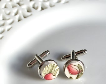 Broken China Silver Plated Cuff Links - Red Indian Tree