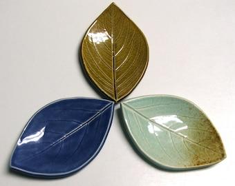 Ceramic Leaf Plates, Set of Three, Hand Built, Persimmon Leaf