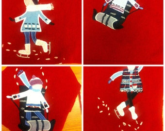 4 winter snowy figure patches on red cashmere - crazyquilting patchwork applique sewing