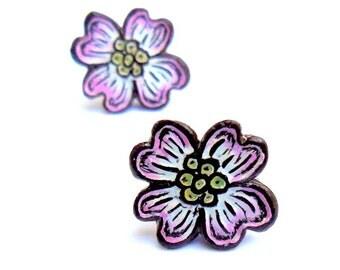 Dogwood Flower Earrings  - Stud Earrings - Pink and White - Spring Jewelry - Post Earrings