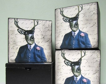 Decorative Wood Box , Anthropomorphic Deer , Trinket Box , Animal Art , Mixed Media Art, Whimsical Art