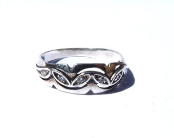Antique Wedding Band Art Deco Vintage Diamond Sterling Silver Wedding Ring Size 6