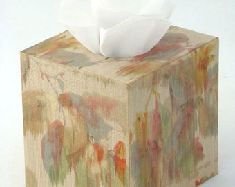 Abstract Watercolor Landscape Flora and Fauna Tissue Box Cover 1930's Vintage Wallpaper