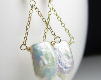 Pearl and Gold Swing Earrings