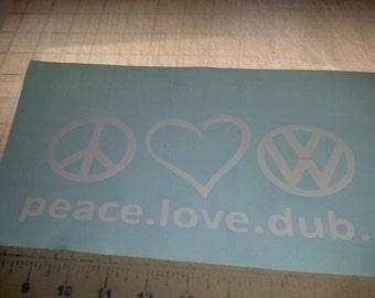 peace love dub car window decal