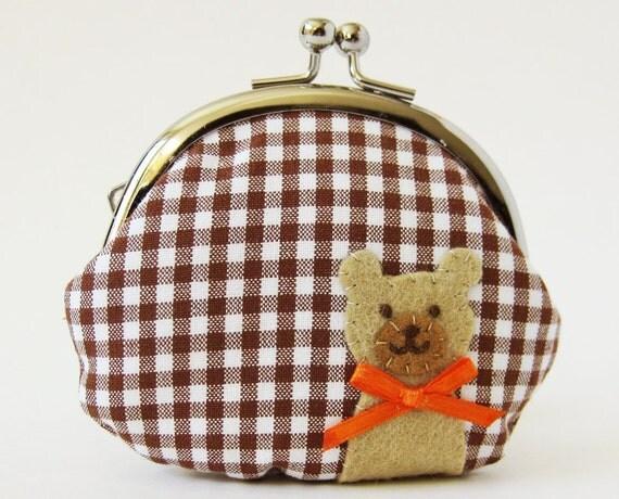 Coin purse bear on brown gingham check teddy bear kiss lock clasp purse change purse brown bear orange white animal kids children