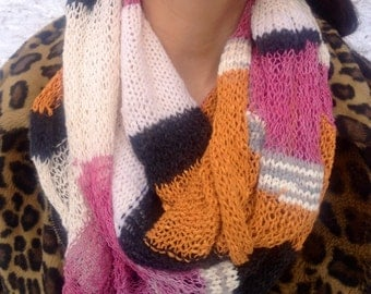 Tangerine and pink stripe knit infinity scarf - long loop scarf in soft recycled yarns