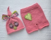 Newborn Girl Knit Outfit RTS BaBY PHoTO PRoP, Pink Owl Hat Pant SET, Baby Bird Beanie Heart Shorts, OOAK Coming Home Costume