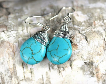 Turquoise Sterling Silver Earrings Wire Wrapped Jewelry Smooth Briolette Teardrop Dangle Drop Southwestern Style Native American Indian RTS