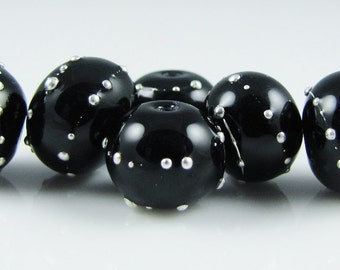Mini Black and Fine Silver Hollow Glass Beads-Set of 6
