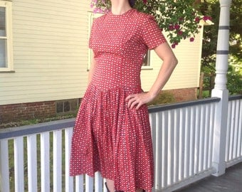 Boho Folk Flower Dress- Red Floral with drop waist