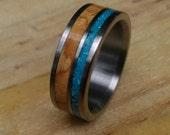 Titanium Ring- Cedar of Lebanon and Turquoise Ring - Wood Ring - Turquoise Ring - Wedding Ring - Mens Ring - Womens Ring - Handmade Ring