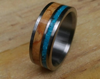 Titanium Ring, Wedding Ring, Wood Ring, Turquoise Ring, Wood Inlay Ring, Personalized Ring, Custom Made Ring, Mens Ring, Womens Ring