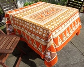 Vintage Tablecloth - Orange Brown Gold and White - Batik Style Print - Rectangular Tablecloth