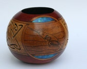 Celtic Sea Creatures Narwhal Seal Selkie gourd art bowl Pyrography