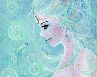 Aceo print 2.5x3.5inches Aquamarina mermaid by Renee