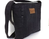 Cross body bag , upcycled denim school bag , black/charcoal Eco friendly shoulder bag for men and women