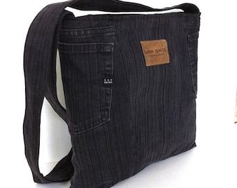 Cross body bag , upcycled denim school bag ,one of a kind bag , black/charcoal Eco friendly shoulder bag for men and women