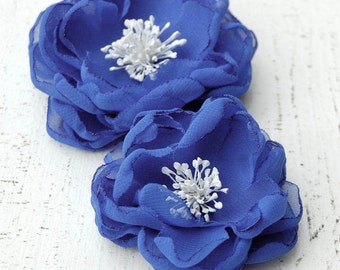 Wedding Blue Sash Flowers, Bridesmaid Hair Clips, Wedding Hair Flowers - Sash Accessories In Navy Chiffon