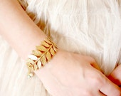 Golden Woodland Adjustable Cuff Bracelet with 14K Gold Filled Chain