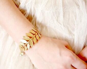 Golden Woodland Adjustable Cuff Bracelet with 14K Gold Filled Chain