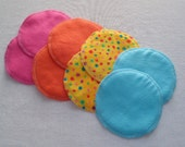 Soft Flannel Nursing Pads, 4 Pair in Hot Pink, Orange, Yellow and Aqua, Cotton Flannel and Bamboo/Cotton Fleece