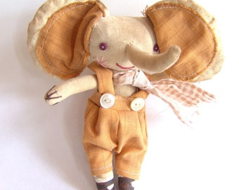 Primitive cloth doll, Byron the elephant