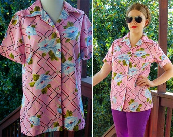 In BLOOM 1970's Vintage Light Pink + Blue Floral Polyester Button Down Shirt with Pointed Collar // size Small Med