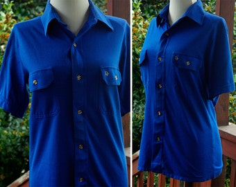 MIAMI Vice 1980's Men's Vintage Button Down Blue Shirt with Short Sleeves // size Small // by Christian DIOR