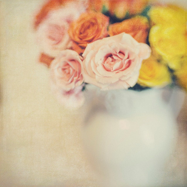 White Vase Roses, 8x8 Photo, Bokeh, Modern Wall Decor, Home Decor, Fine Art Phtography