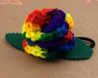Crocheted Rose Ponytail Holder or Bracelet - Rainbow (SWG-HP-RB03)